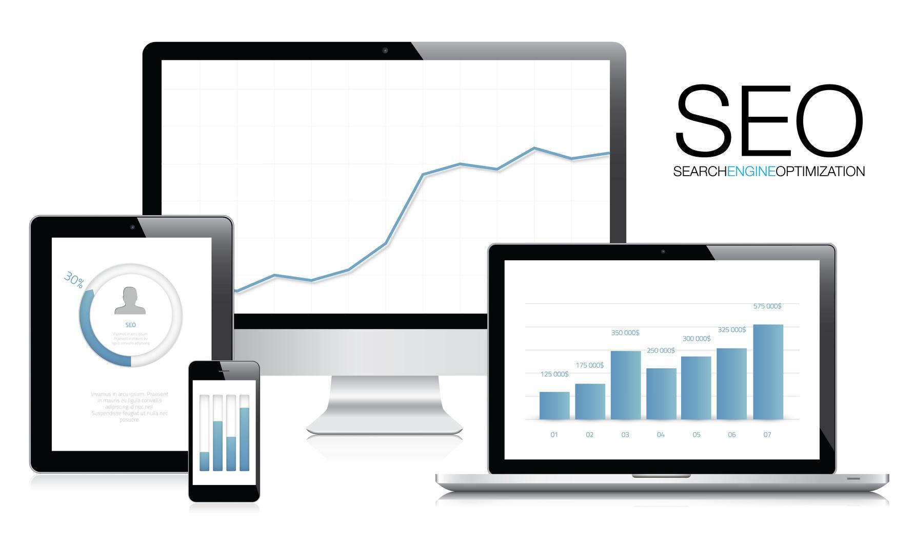 SEO und SEM Grafiken auf verschiedenen Geräten