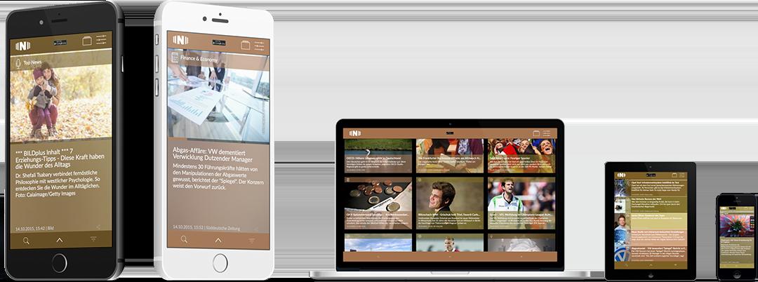 TICKING News, geöffnet auf iPhones, einem Macbook, einem Tablet und Smartphones