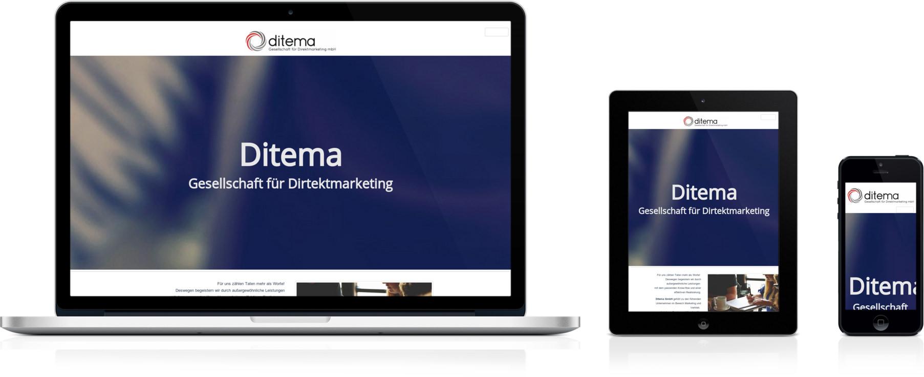 Ditema.de, geöffnet auf Laptop, Smartphone und Tablet
