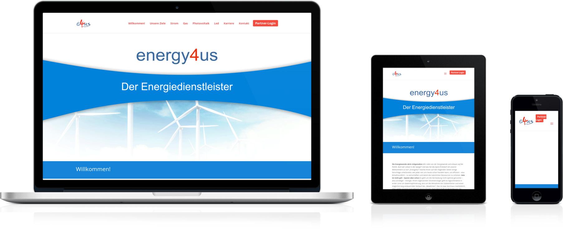 Energy4us.de geöffnet auf Desktop, Smartphone und Tablet