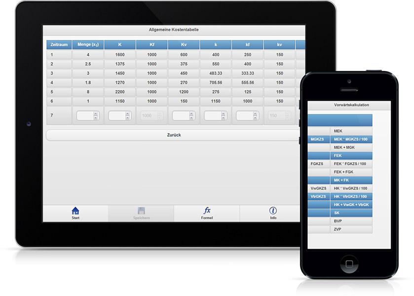 App BWL Lösungsgenerator geöffnet auf Tablet und Smartphone