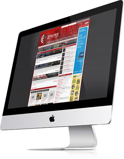 ETactics.de, geöffnet auf einem iMac