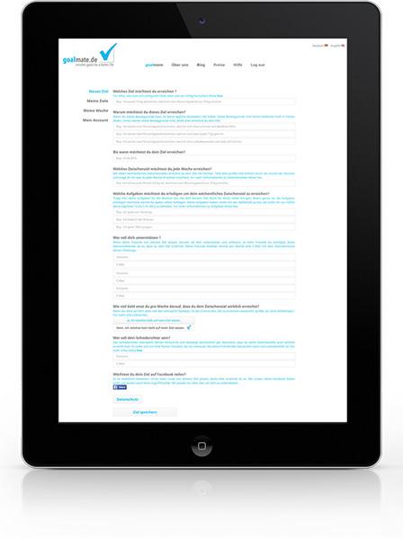 Goalmate.de, geöffnet auf einem Tablet, Ansicht der gesetzten Ziele
