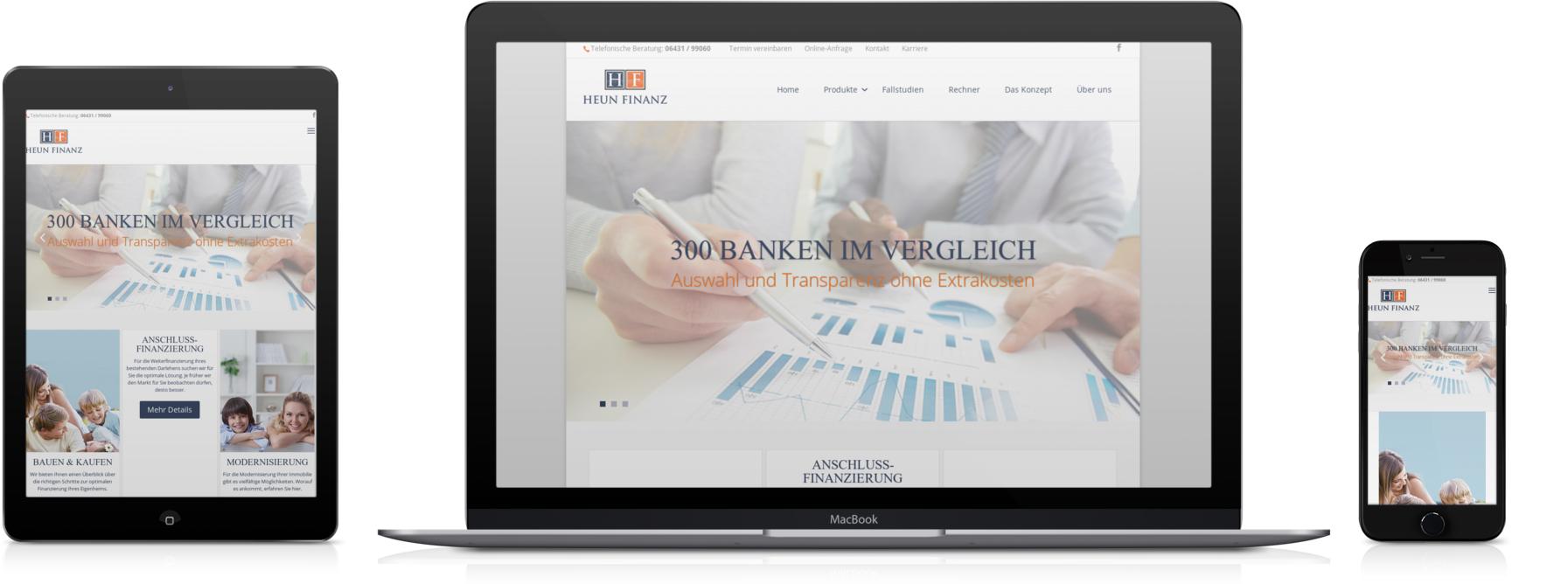 Heun-Finanz.de, geöffnet auf einem Desktop-PC, Smartphone und Tablet
