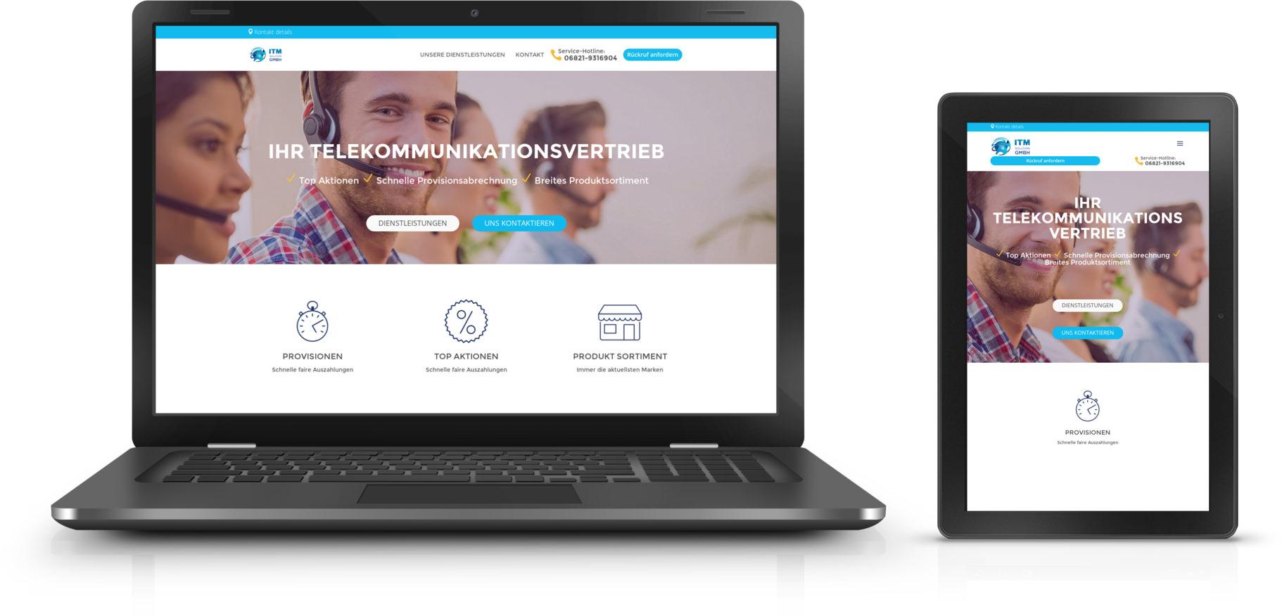 Seite der ITM-Solution.de geöffnet auf Laptop und Smartphone