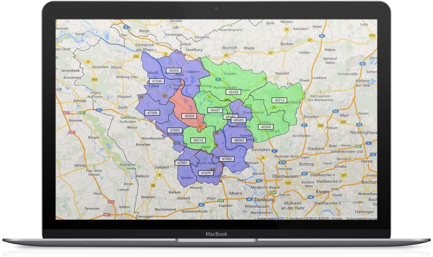 Google Maps® PLZ Suche Ausschnitt