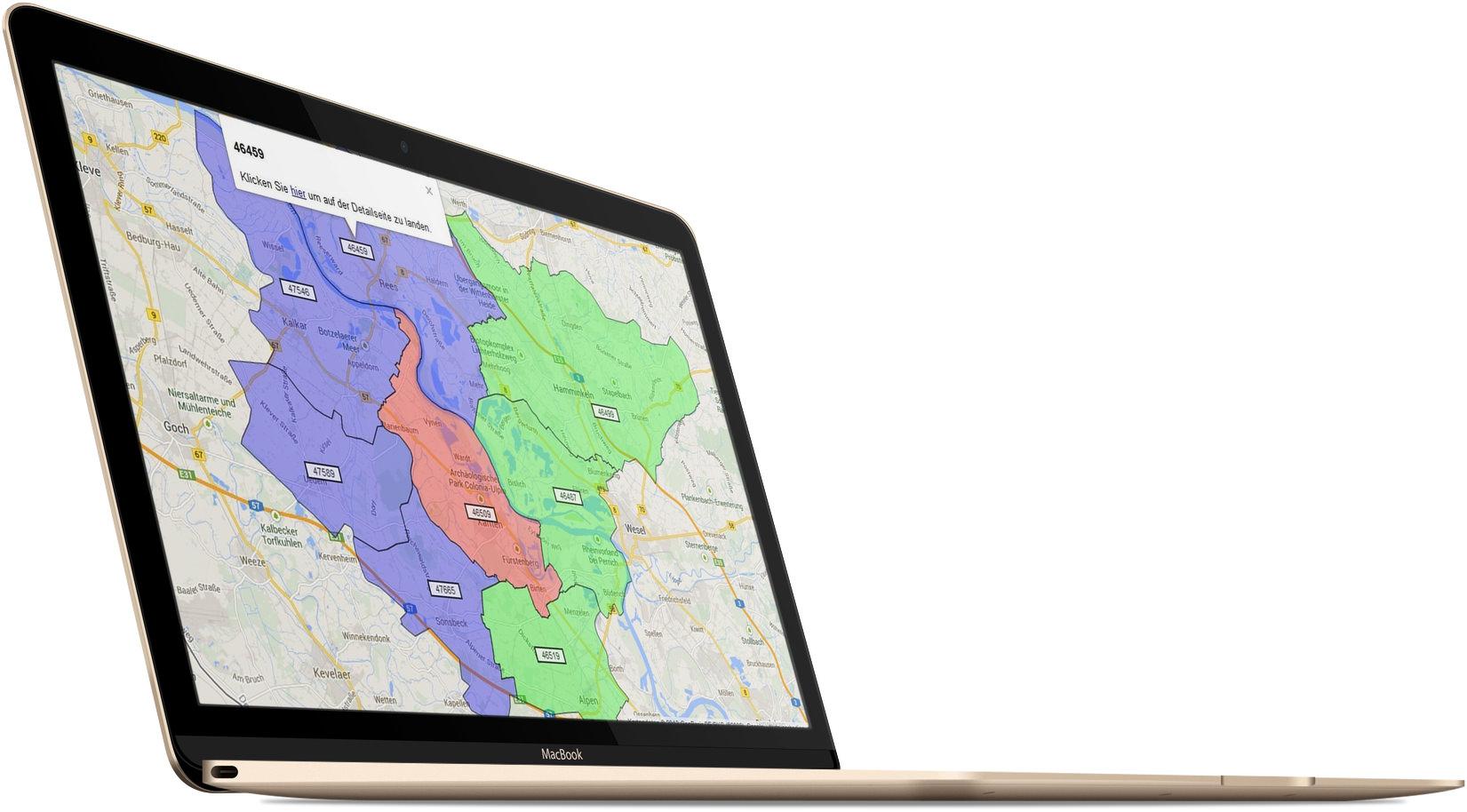 Google Maps® API Postleitzahlengebiete auf einem Macbook