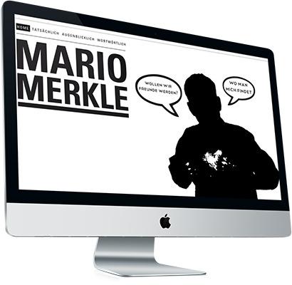 Internetseite von Mario Merkle (Mariomerkle.ch) , geöffnet auf einem iMac