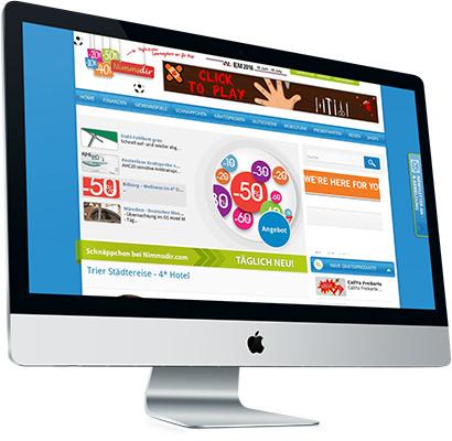 NimmsDir.com, geöffnet auf einem iMac