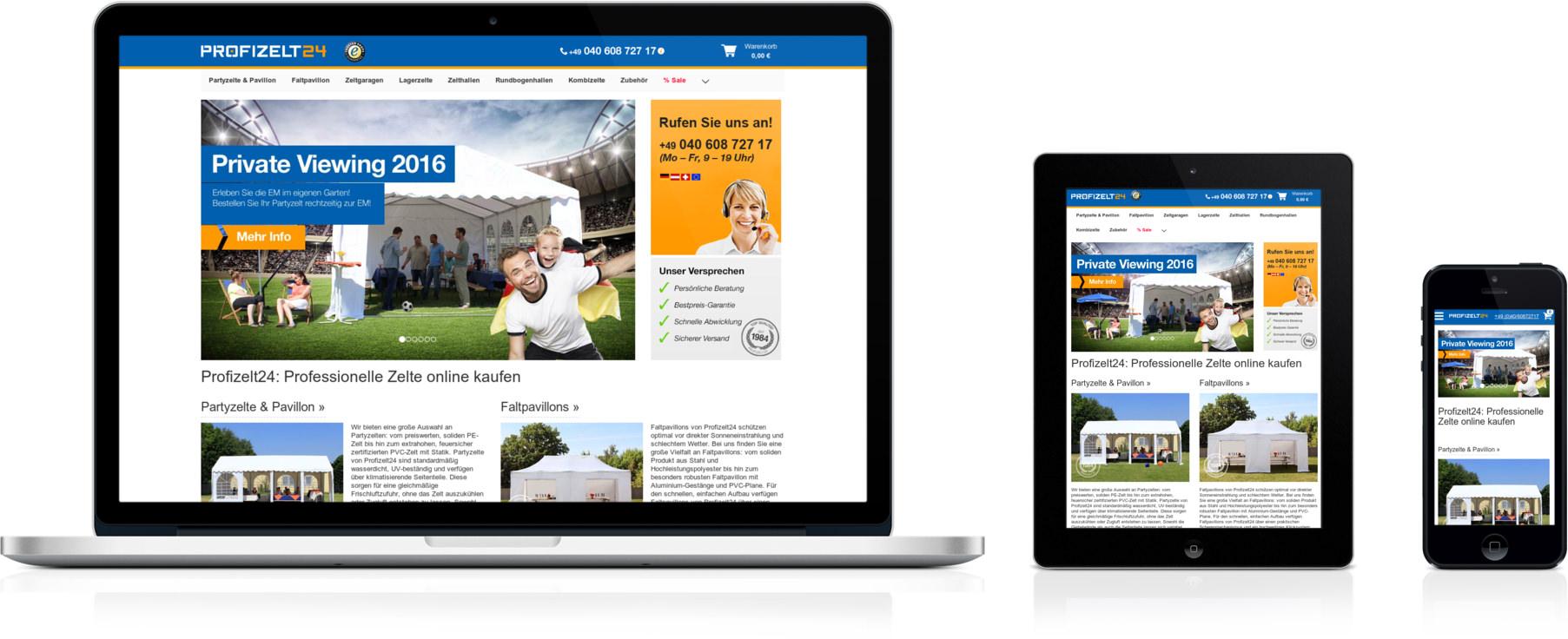 Profizelt24.de geöffnet auf Smartphone, Desktop und Tablet