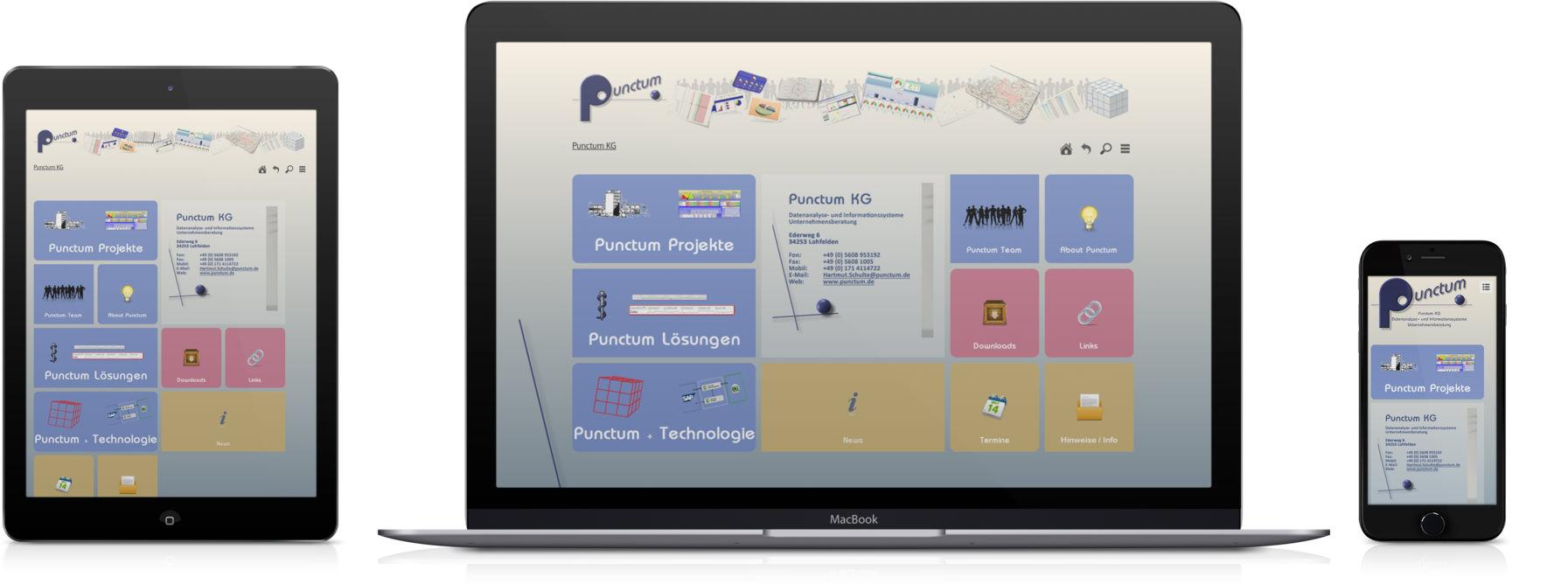 Punctum.de geöffnet auf Smartphone, Desktop und Tablet