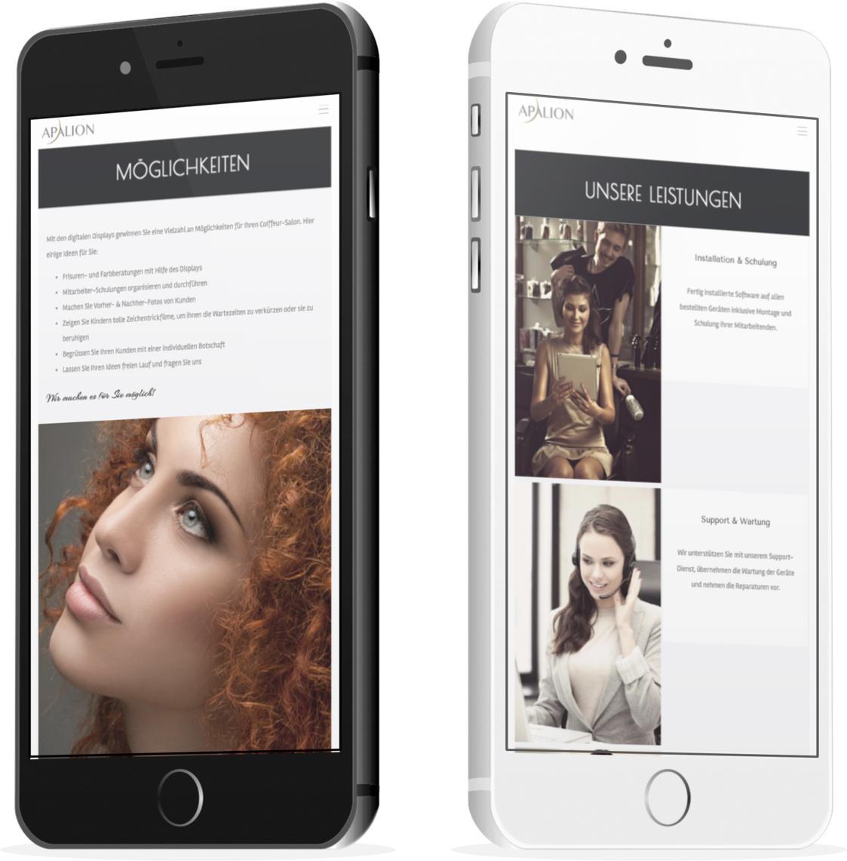 Salon-Marketing.org geöffnet auf einem schwarzen und einem weissen iPhone