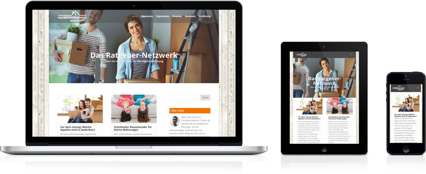 Erstewohnung-Ratgeber.de, geöffnet auf Smartphone, Laptop und Tablet