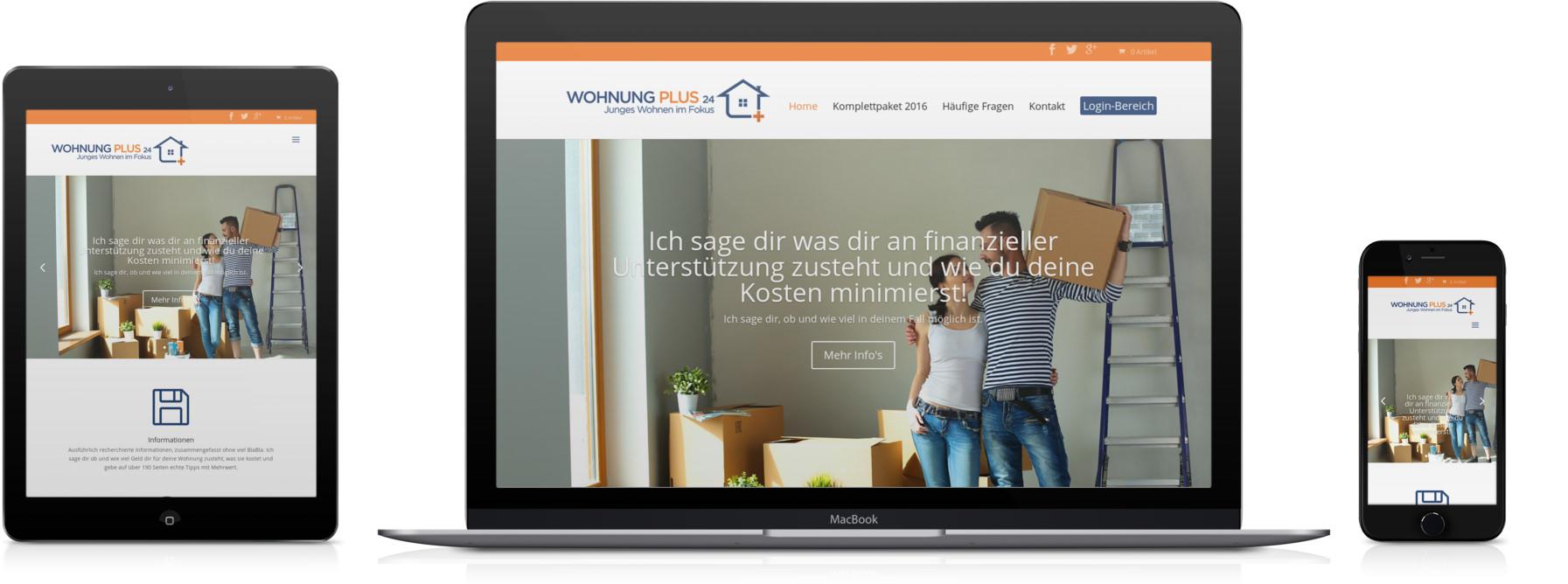 Wohnungpus24.de, geöffnet auf einem Tablet, einem Macbook und auf einem iPhone